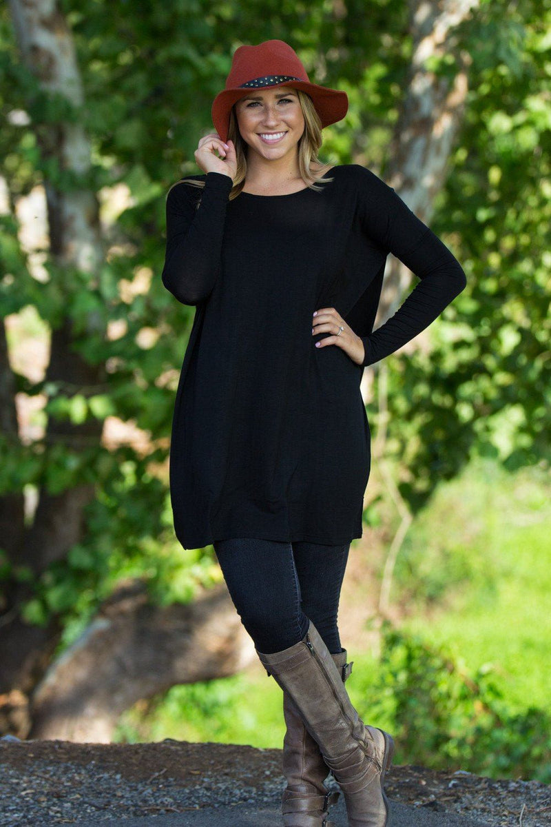 Long Sleeve Piko Tunic - Black - Piko Clothing