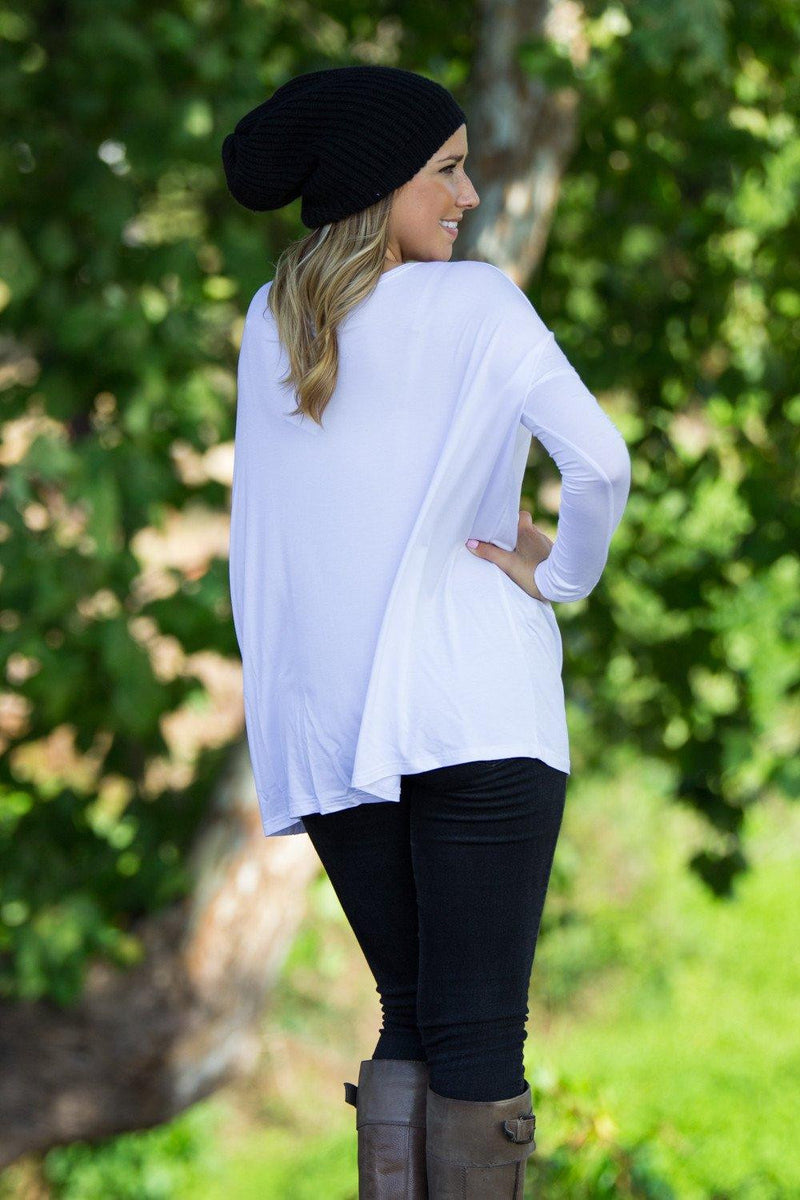 Long Sleeve Piko Top - White - Piko Clothing