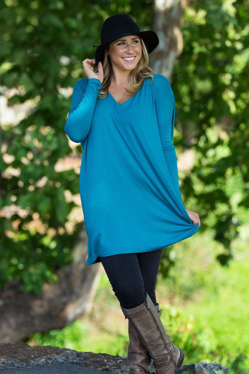 Long Sleeve V-Neck Piko Tunic - Teal - Piko Clothing