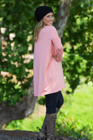 Long Sleeve V-Neck Piko Tunic - Peach - Piko Clothing