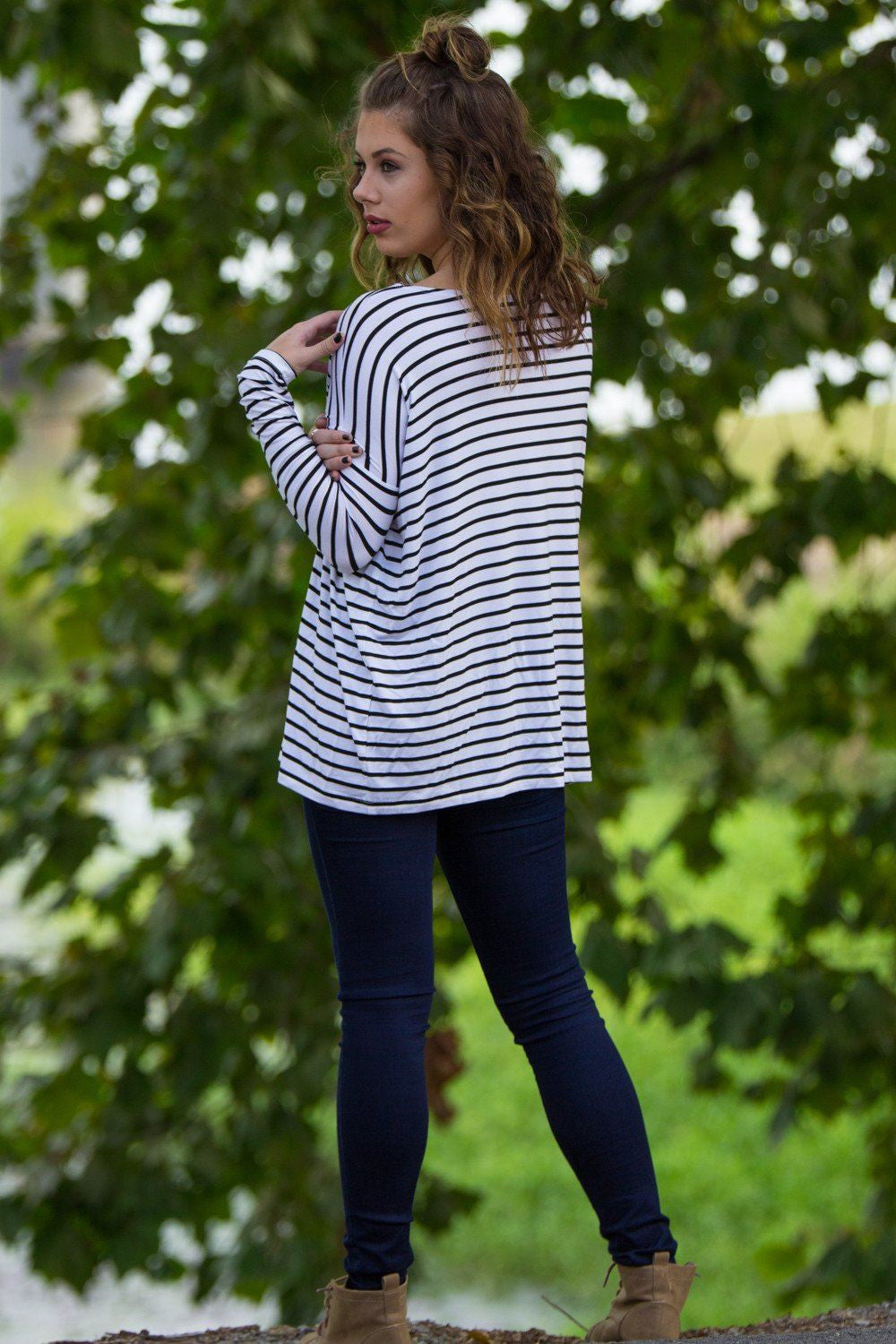 Long Sleeve Tiny Stripe Piko Top - White/Black - Piko Clothing