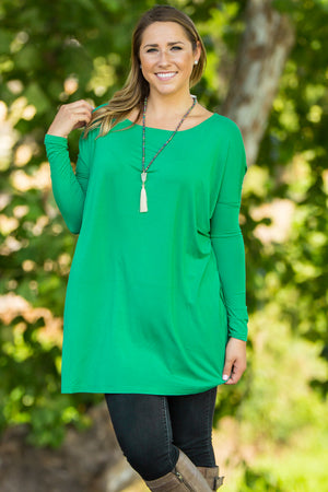 Long Sleeve Piko Tunic - Kelly Green