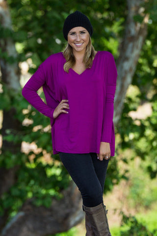 Long Sleeve V-Neck Piko Top - Bright Fuchsia - Piko Clothing