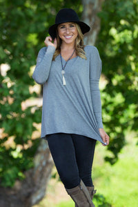 Long Sleeve V-Neck Piko Top - Heather Grey - Piko Clothing