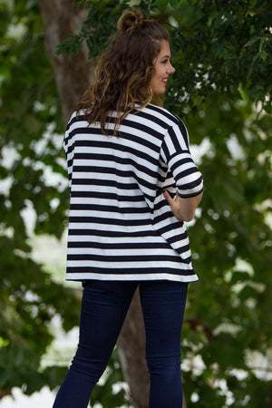 3/4 Sleeve Thick Striped Piko Top - Black/White - Piko Clothing
