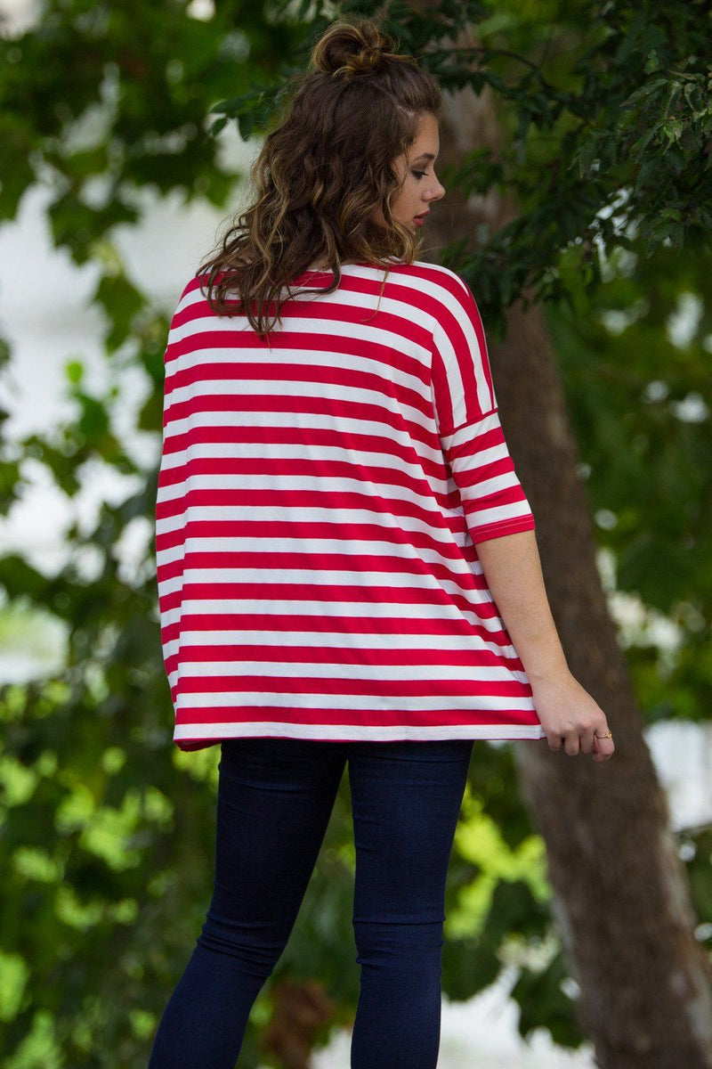 3/4 Sleeve Thick Striped Piko Top - Red/White - Piko Clothing