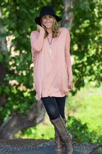 Long Sleeve Piko Tunic - Nude - Piko Clothing