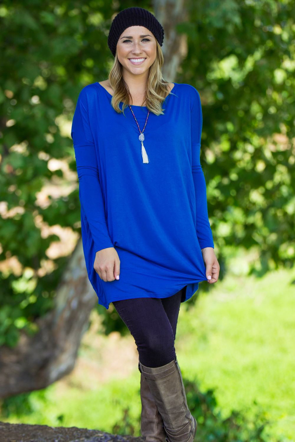 Long Sleeve Piko Tunic - Royal Blue - Piko Clothing