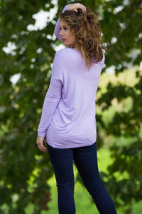 Long Sleeve V-Neck Piko Top - Lilac - Piko Clothing