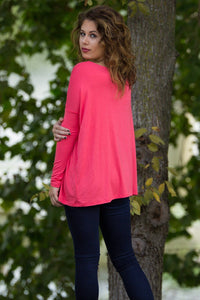 Long Sleeve Piko Top - Coral - Piko Clothing
