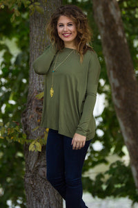 Long Sleeve Piko Top - Natural Olive - Piko Clothing