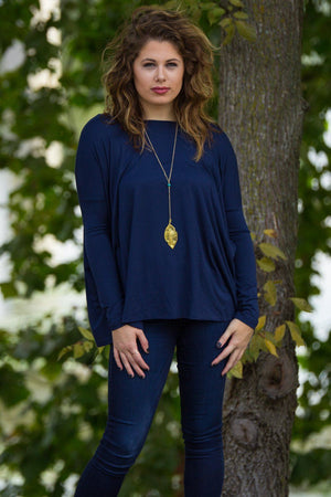 Long Sleeve Piko Top - Navy - Piko Clothing