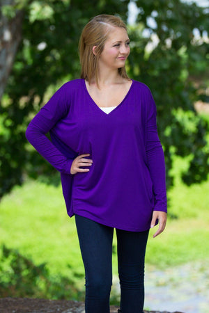 Long Sleeve V-Neck Piko Top - Purple - Piko Clothing