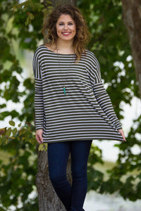 Long Sleeve Tiny Stripe Piko Top - Olive/White - Piko Clothing