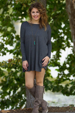 Long Sleeve Piko Tunic - Dark Heather Grey - Piko Clothing