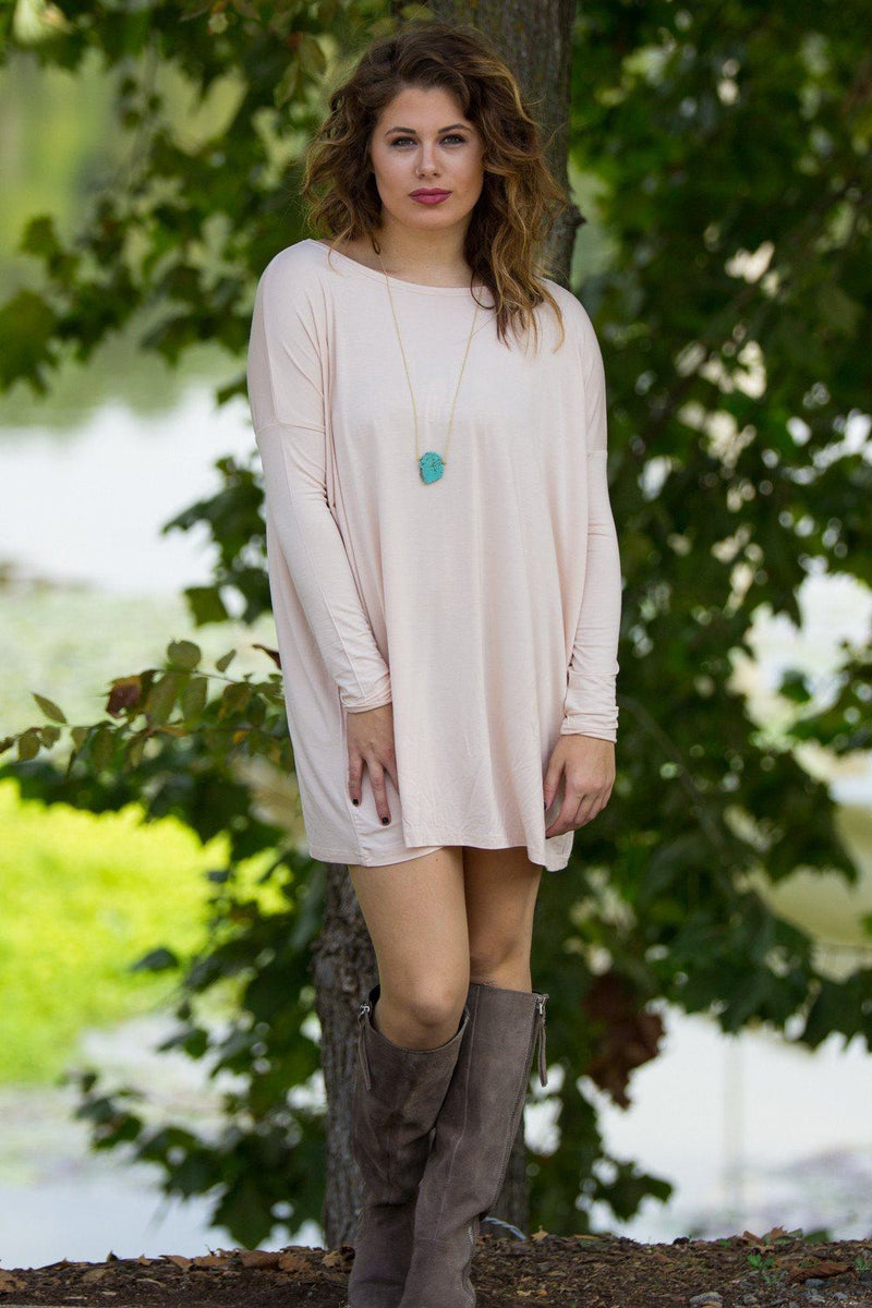 Long Sleeve Piko Tunic - Cream - Piko Clothing