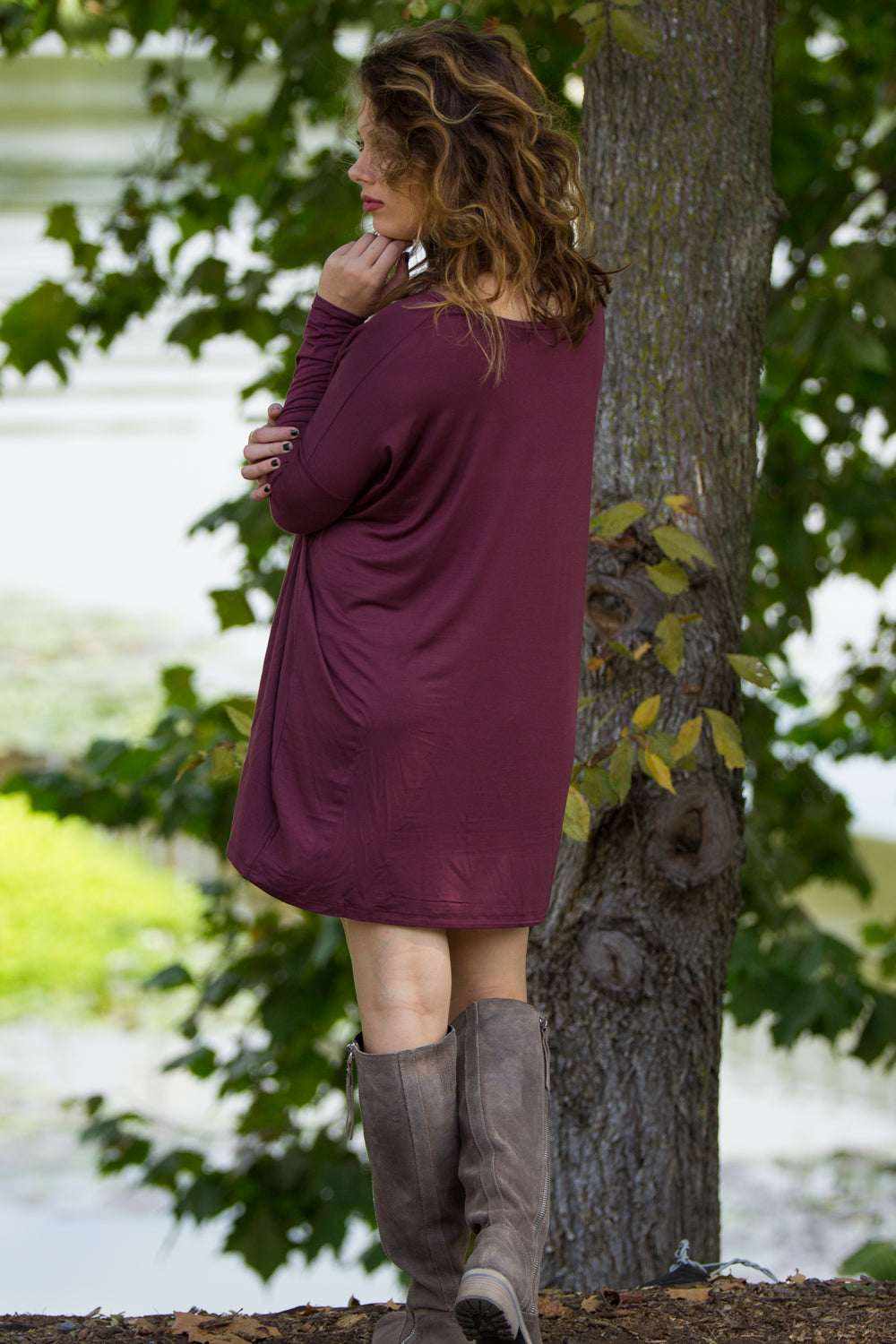 Long Sleeve V-Neck Piko Tunic - Plum