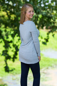 Long Sleeve Slim Fit V-Neck Piko Top - Heather Grey - Piko Clothing