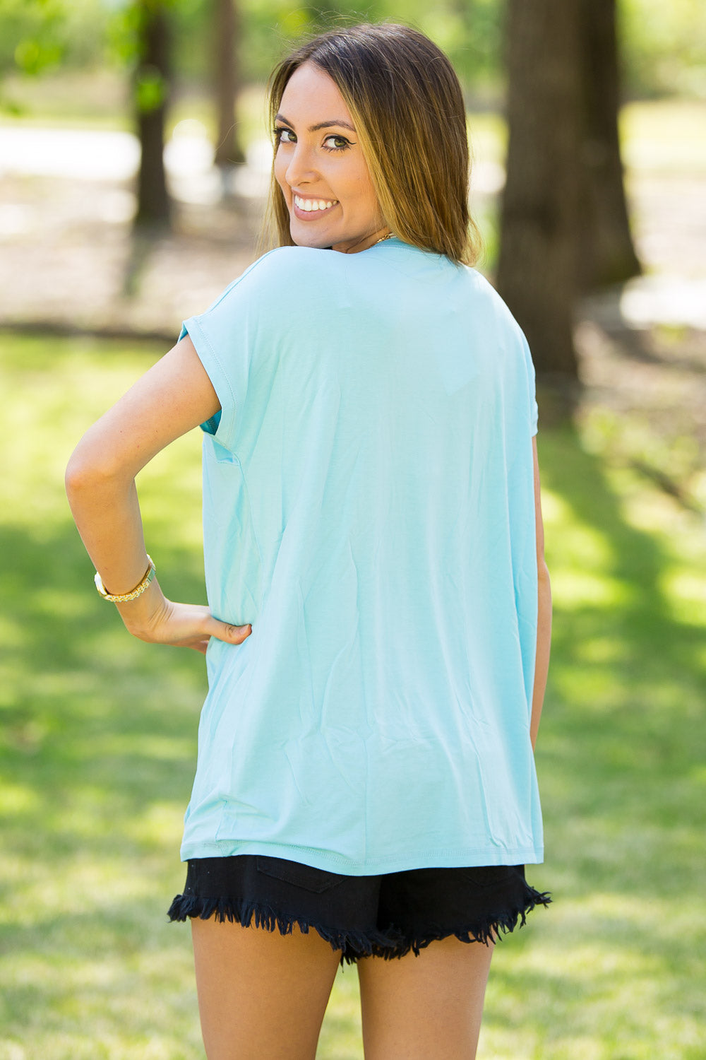 Short Sleeve Rolled Sleeve Piko Top - Limpet Shell
