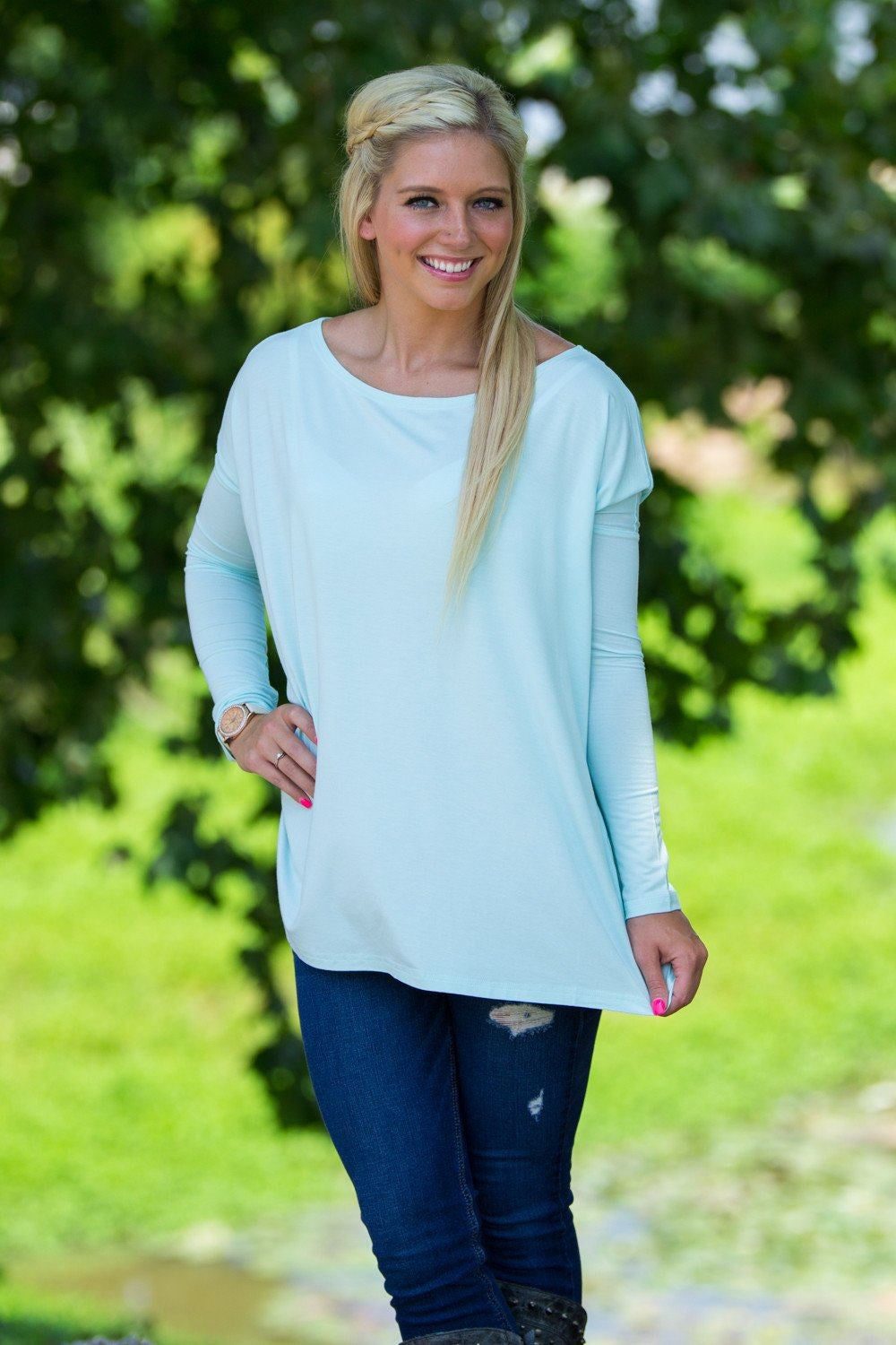 Long Sleeve Piko Top - Mint - Piko Clothing