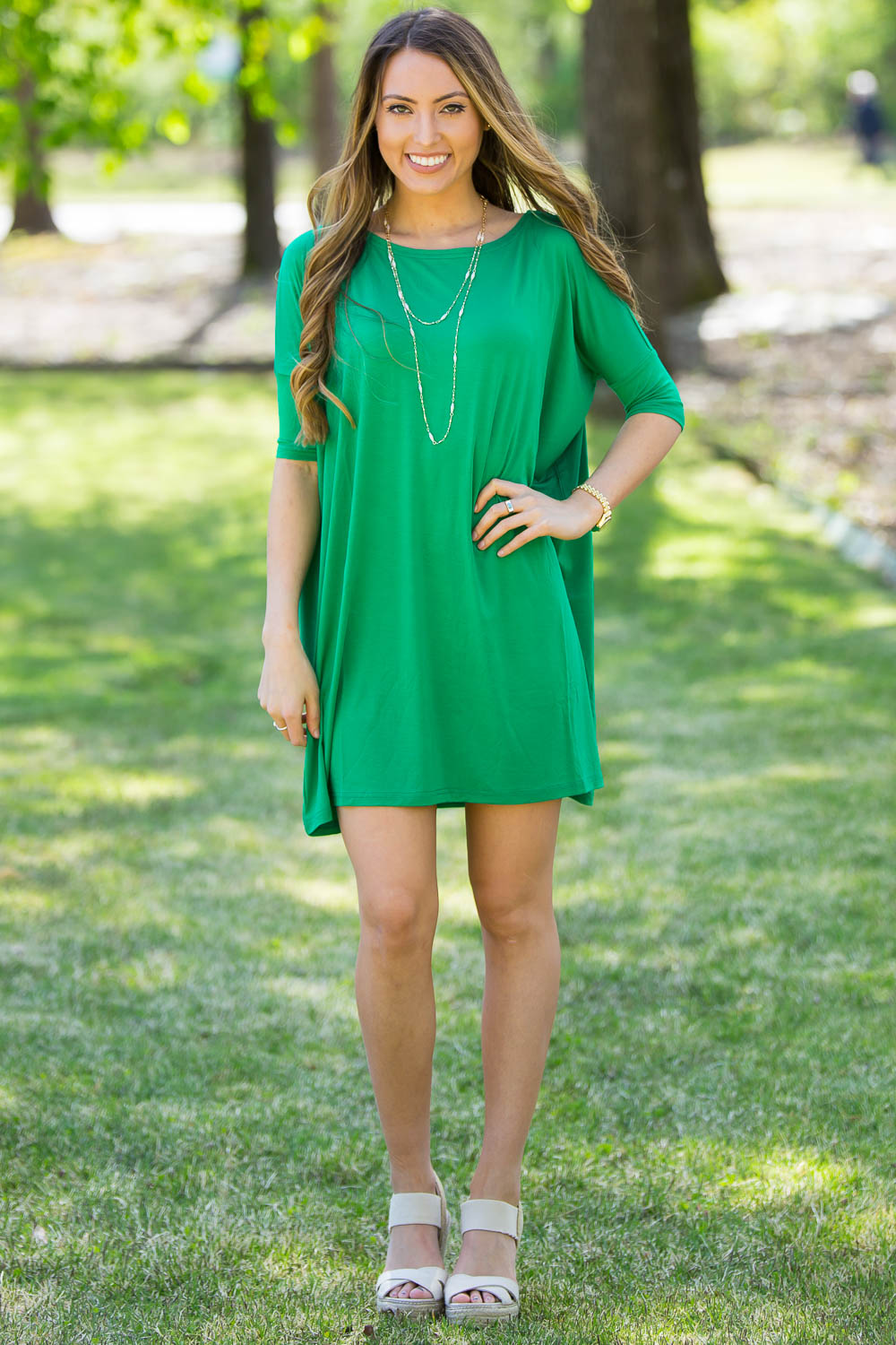 Half Sleeve Piko Tunic - Kelly Green