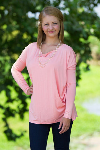 Long Sleeve Piko Top - Peach - Piko Clothing