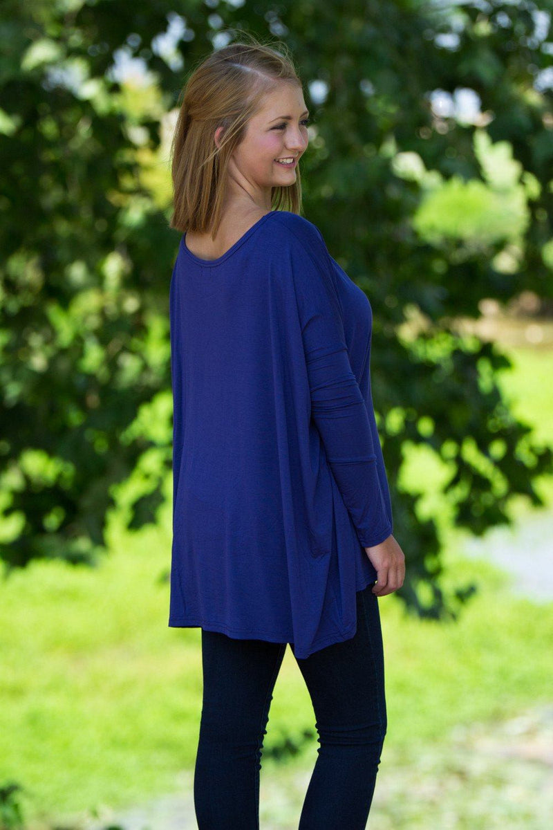 Long Sleeve Piko Top - Blue - Piko Clothing