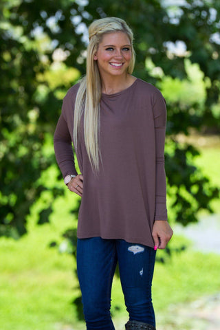 Long Sleeve Piko Top - Brown - Piko Clothing
