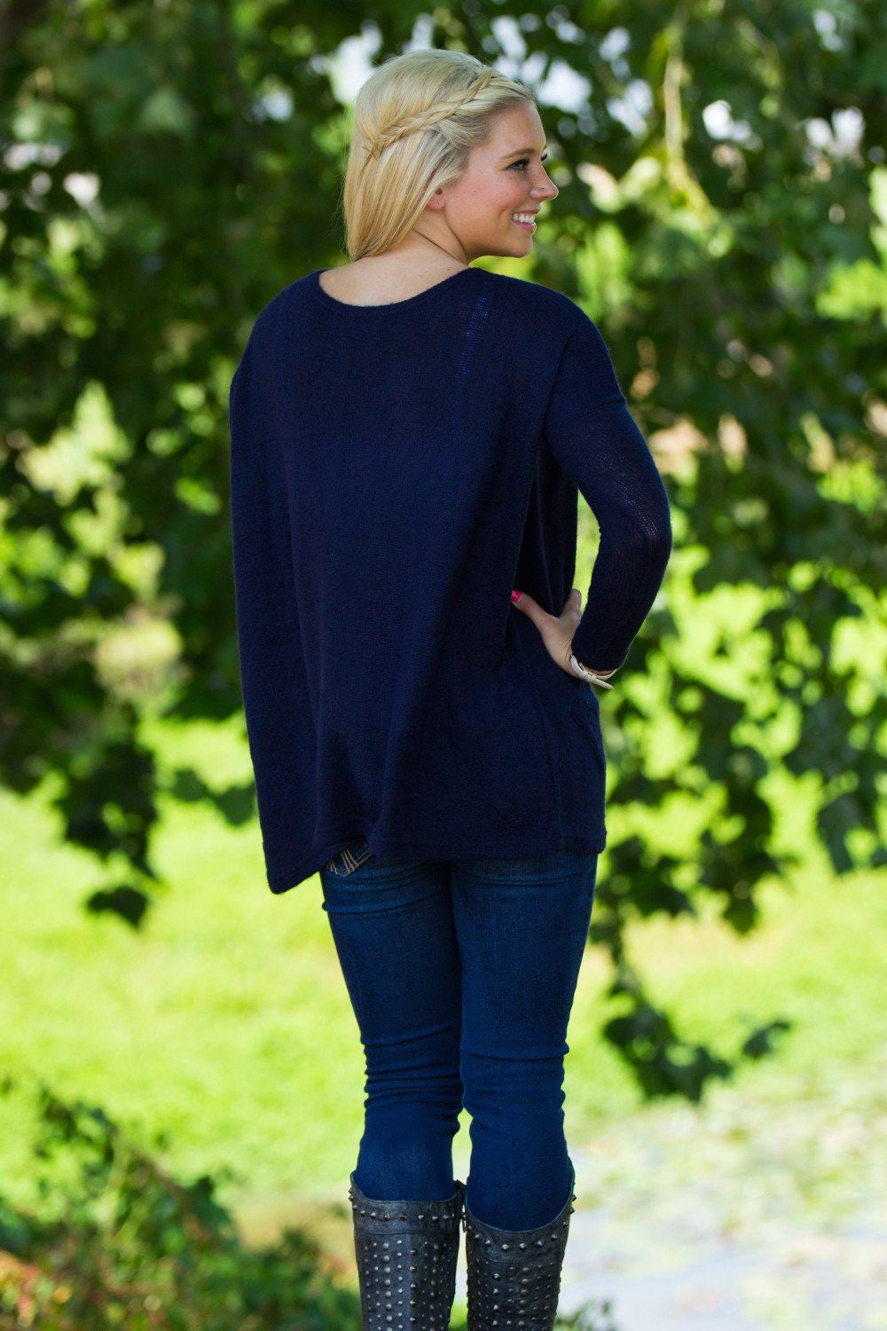 Long Sleeve Piko Sweater - Navy - Piko Clothing