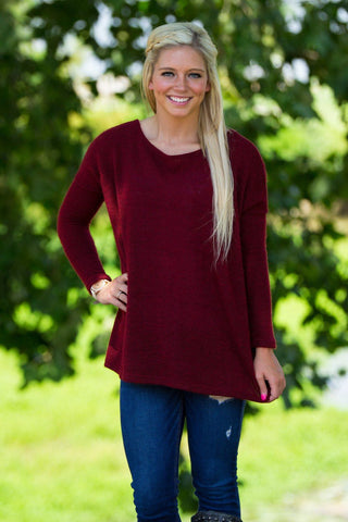 Long Sleeve Piko Sweater - Wine - Piko Clothing