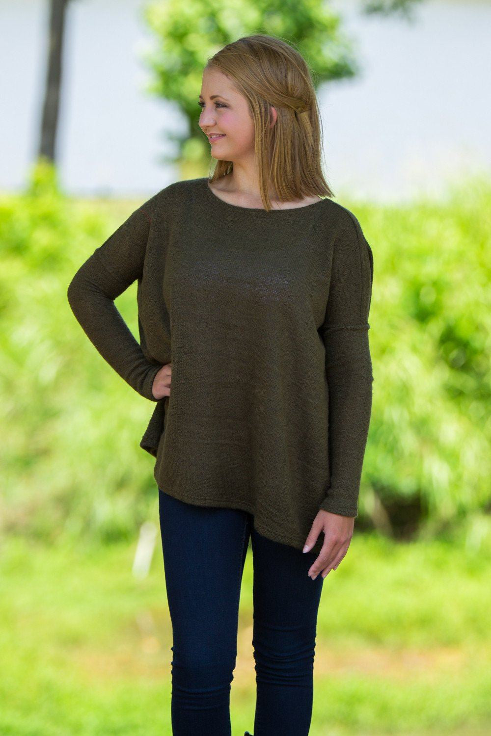Long Sleeve Piko Sweater - Olive - Piko Clothing