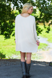 Long Sleeve V-Neck Piko Tunic - Beige - Piko Clothing