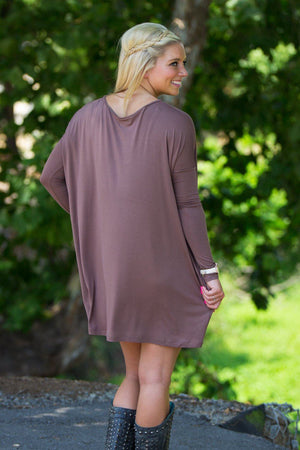 Long Sleeve V-Neck Piko Tunic - Brown - Piko Clothing