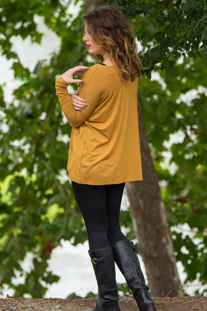 Long Sleeve Piko Top - Dark Mustard - Piko Clothing