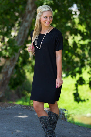 Short Sleeve Piko Dress - Black - Piko Clothing - 1
