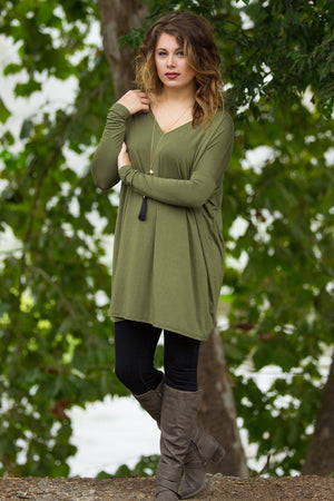 Long Sleeve V-Neck Piko Tunic - Natural Olive - Piko Clothing