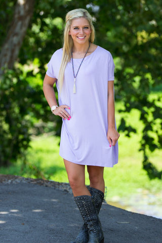 Short Sleeve Piko Tunic - Lilac - Piko Clothing - 1