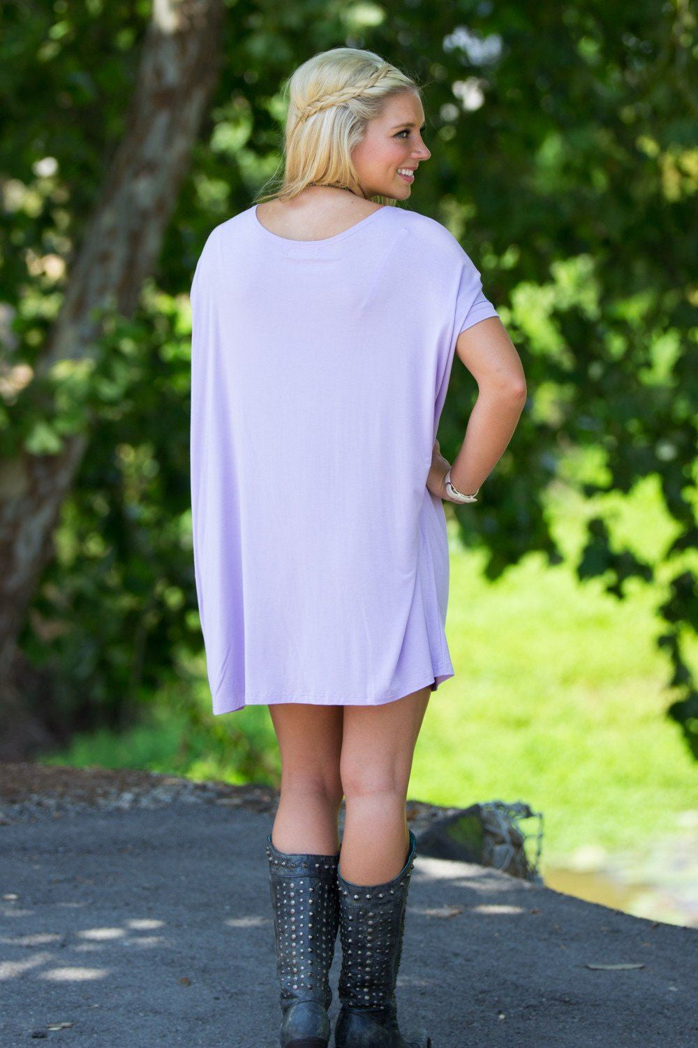 Short Sleeve Piko Tunic - Lilac - Piko Clothing - 2