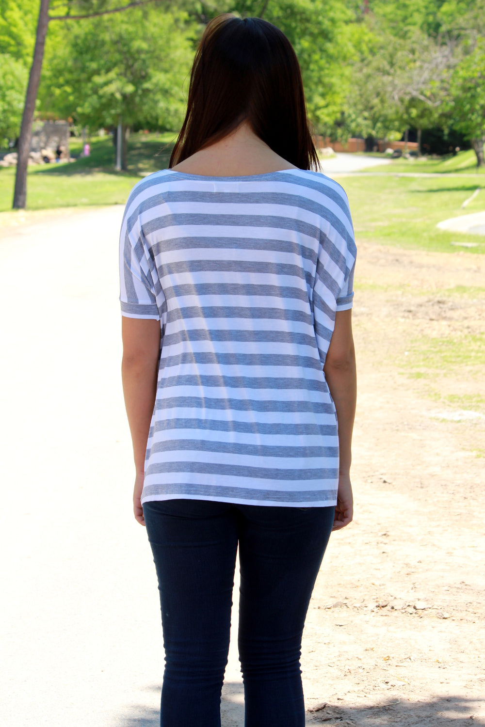 Short Sleeve Thick Stripe Piko Top - Grey/White