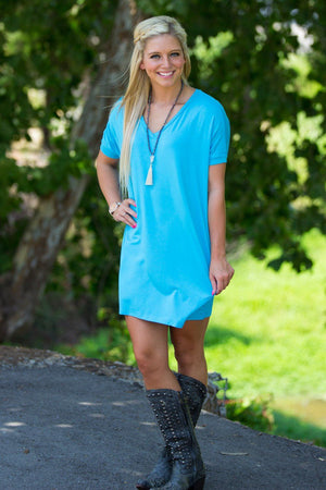 Short Sleeve V-Neck Piko Tunic - Sky Blue - Piko Clothing