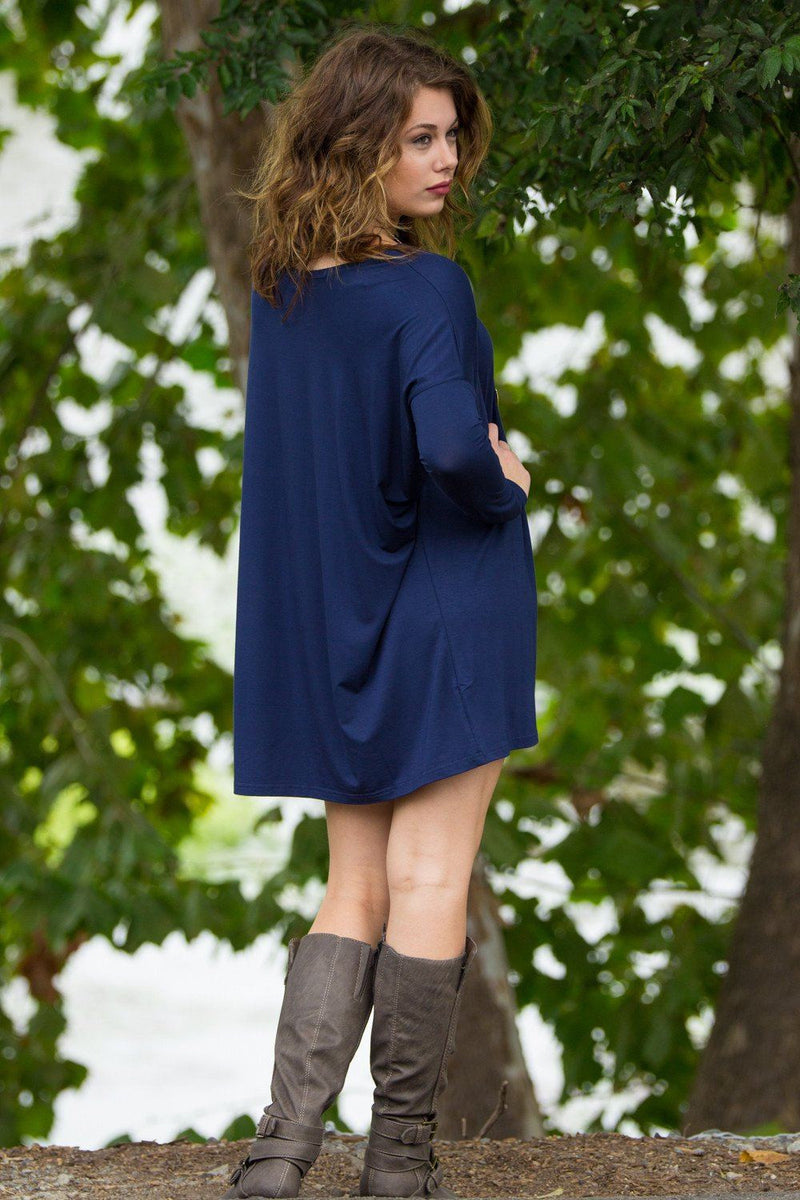 Long Sleeve Piko Tunic - Navy - Piko Clothing