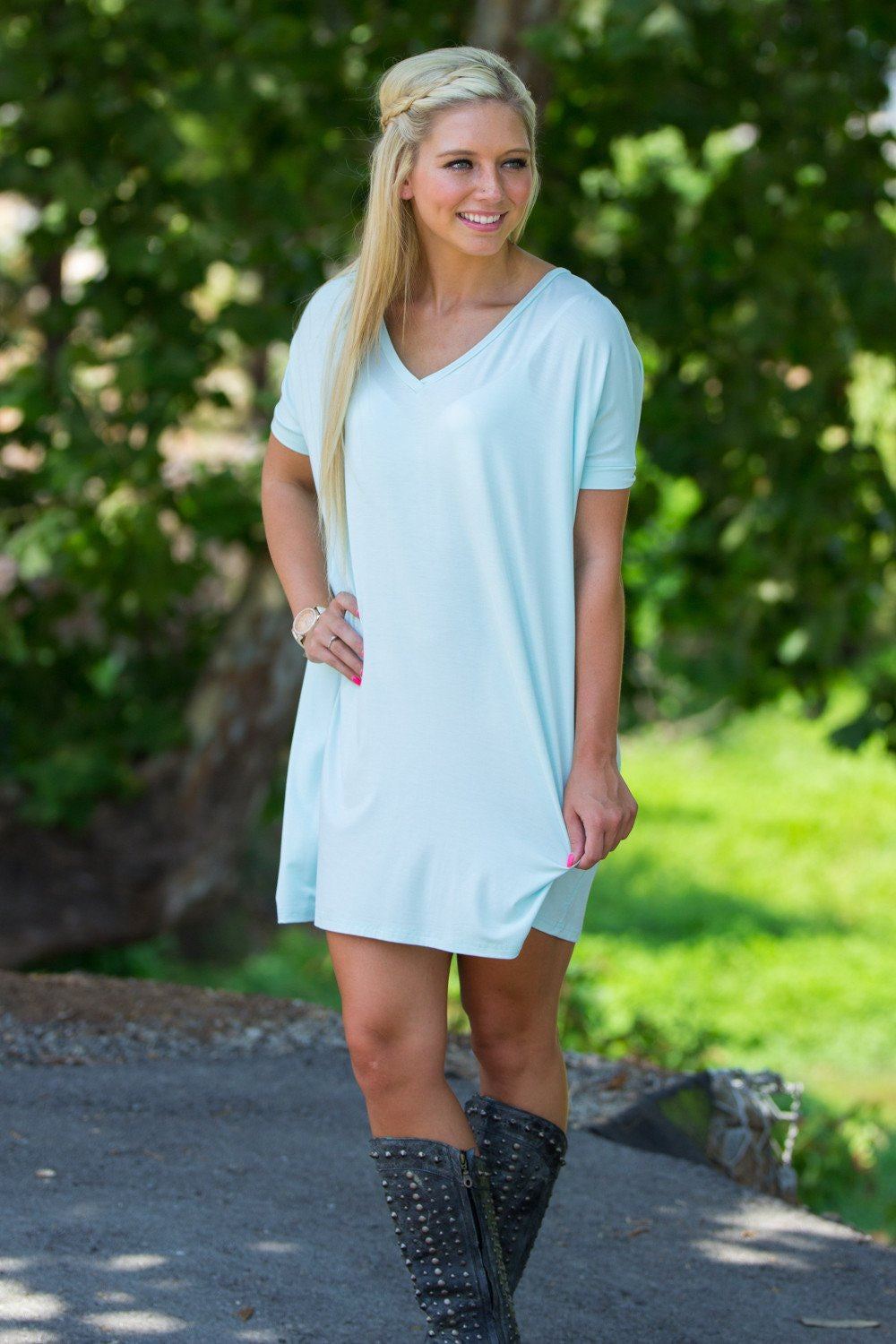 Short Sleeve V-Neck Piko Tunic - Mint - Piko Clothing