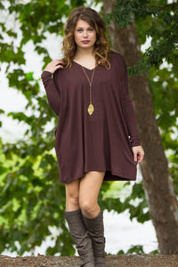 Long Sleeve V-Neck Piko Tunic - Dark Brown - Piko Clothing