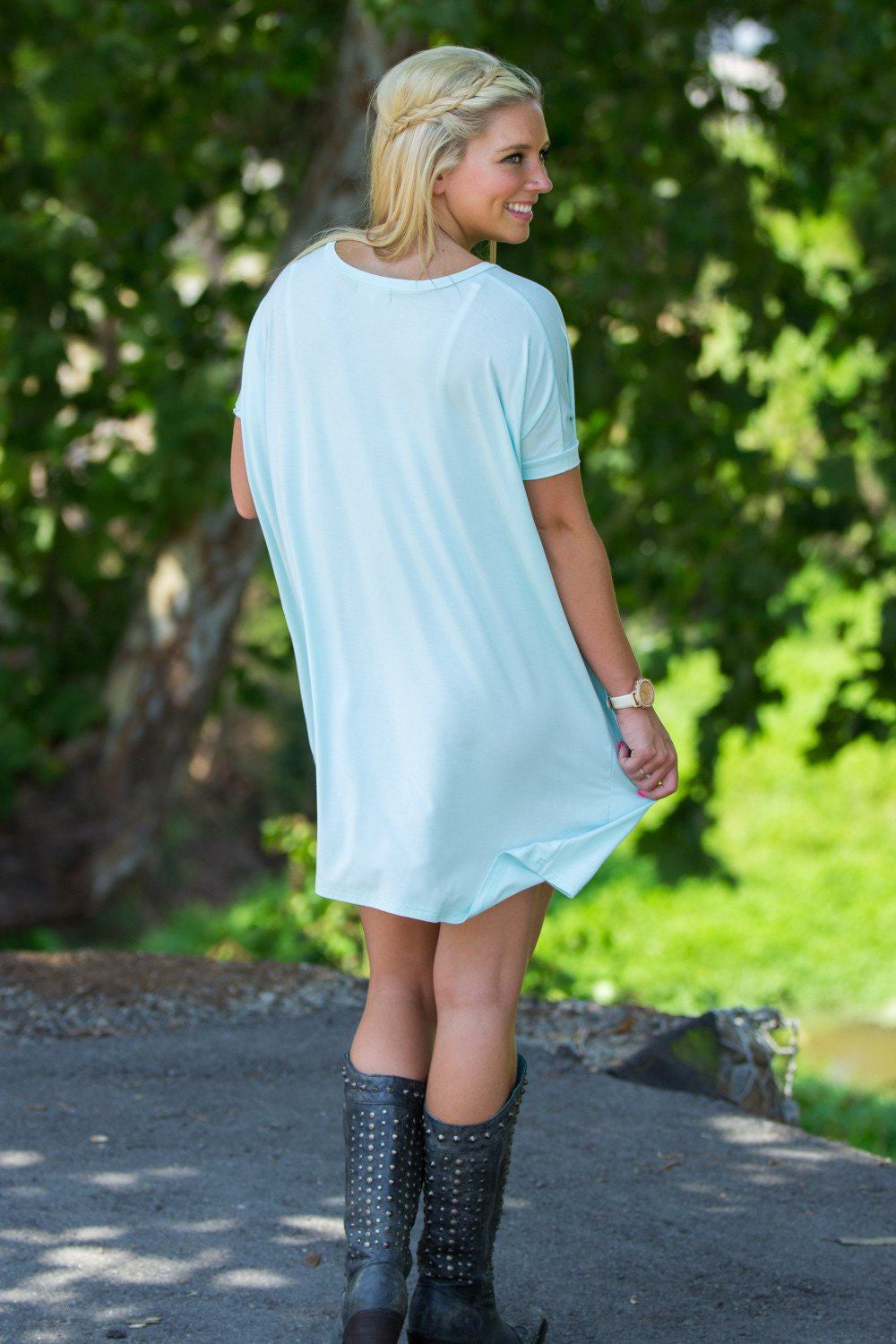 Short Sleeve V-Neck Piko Tunic - Mint - Piko Clothing - 2