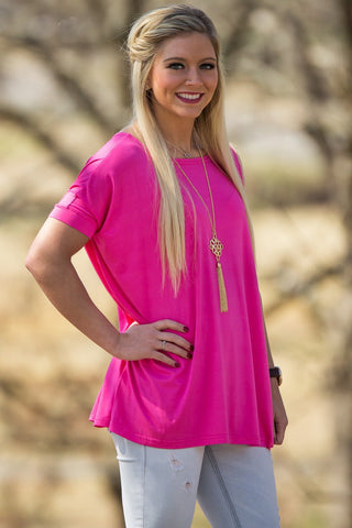 Short Sleeve Piko Top - French Rose