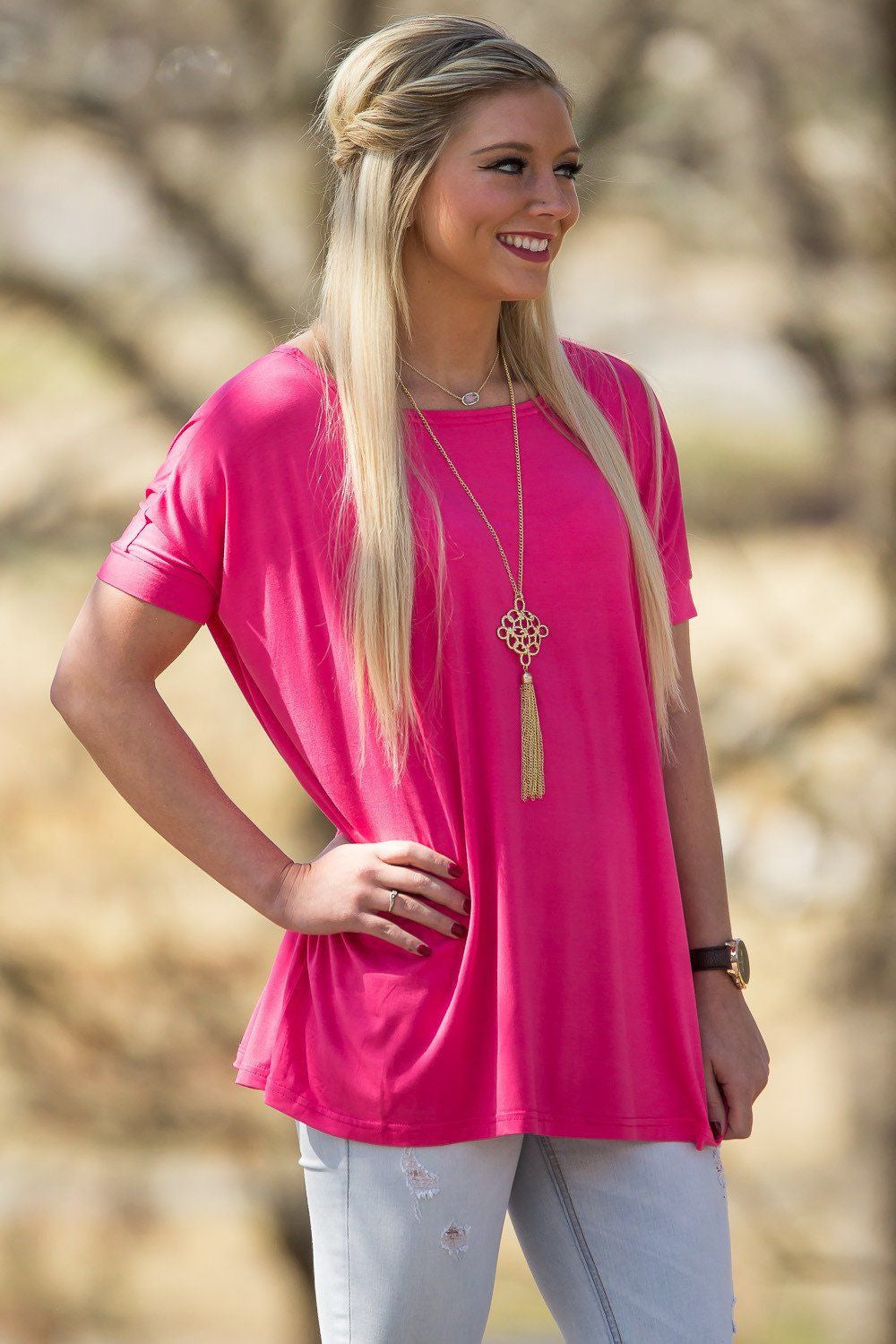 Short Sleeve Piko Top - Fuchsia