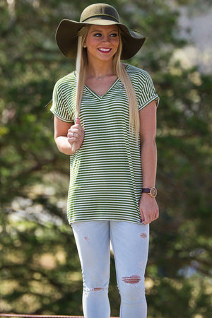 Short Sleeve Rolled Sleeve V-Neck Tiny Stripe Piko Top - Olive/White - Piko Clothing - 1
