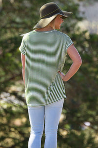 Short Sleeve Rolled Sleeve V-Neck Tiny Stripe Piko Top - Olive/White - Piko Clothing - 2