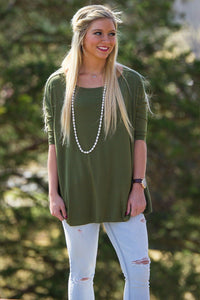 3/4 Sleeve Piko Top - Natural Olive - Piko Clothing
