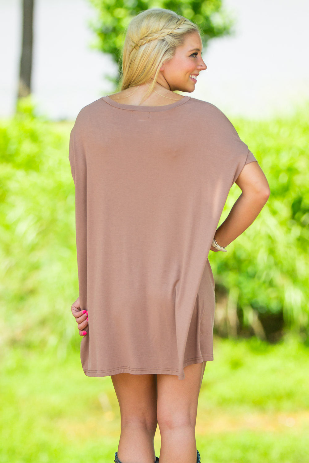 Short Sleeve V-Neck Piko Tunic - Mocha